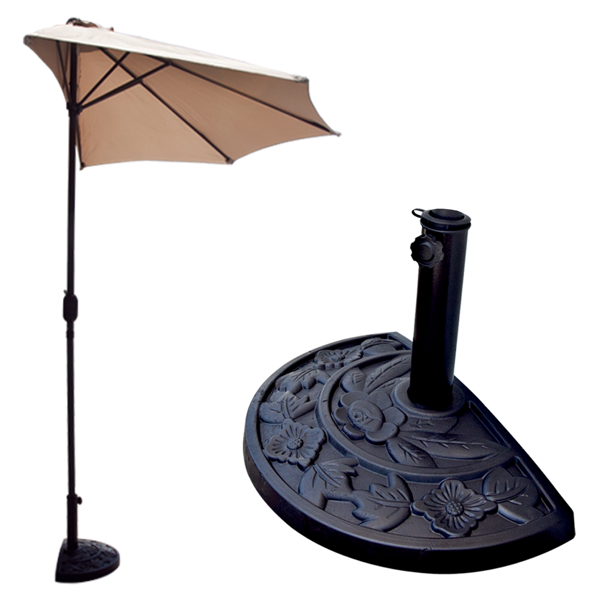 Half patio umbrella