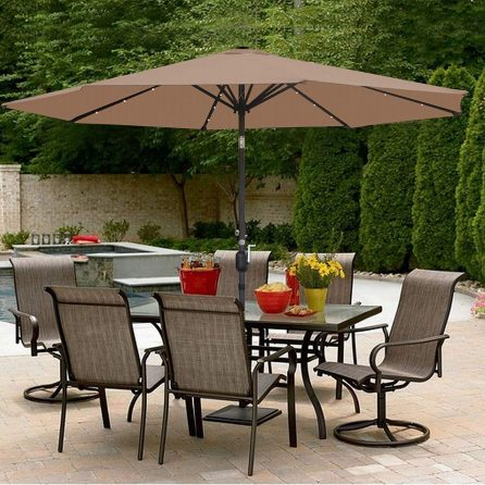 SUPER DEAL 10FT Solar LED Lighted Patio Umbrella